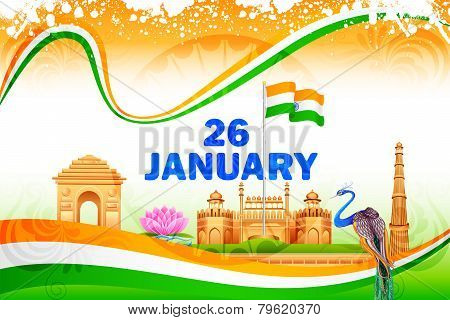 Famous monument on India background