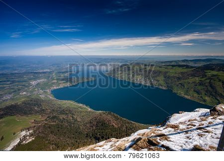 Aerial View Of Lucerne Lake From Top Rigi Mountain