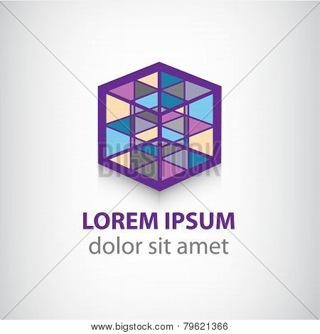 vector colorful cube construction logo