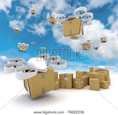 3D rendering of a group of flying drones transporting packages