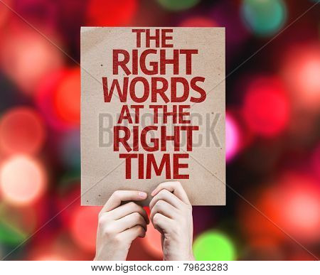 The Right Words At The Right Time card with colorful background with defocused lights