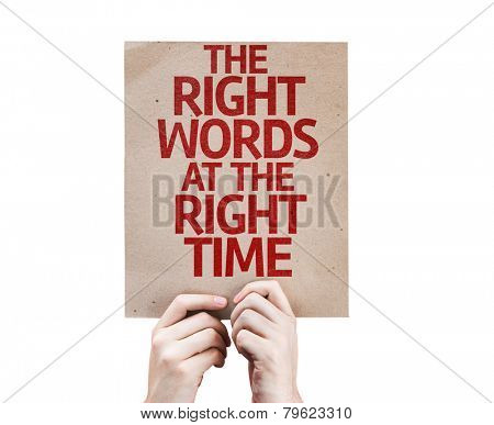 The Right Words At The Right Time card isolated on white background