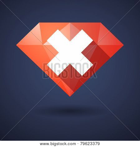 Diamond Icon With A Reject Sign
