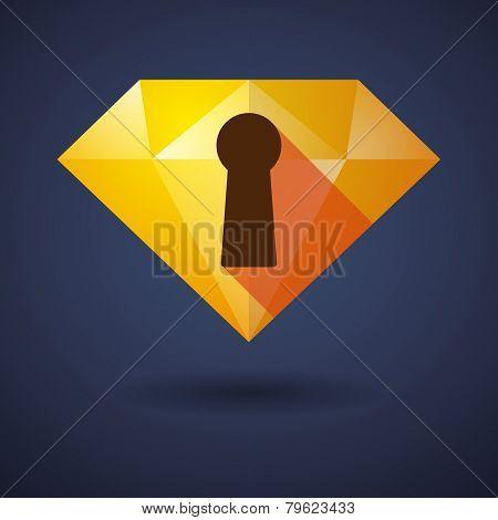 Diamond Icon With A Key Hole