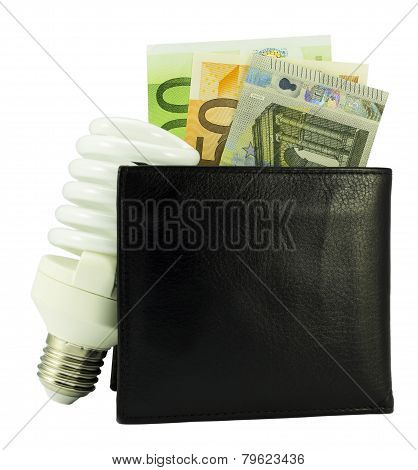 Save Energy Concept -black Wallet With Euro Money And Light Bulb -