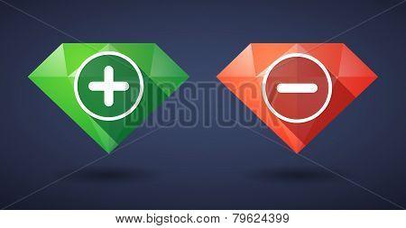 Mathematical Symbol Diamond Icon Set