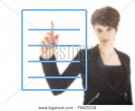 Young Woman With Blue Checklist Isolated On White Background