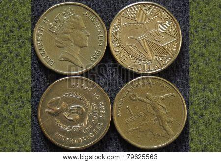 Dollar coins, head & 3 tails.