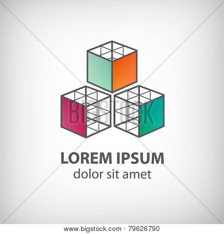 vector abstract cube construction made of 3 logo