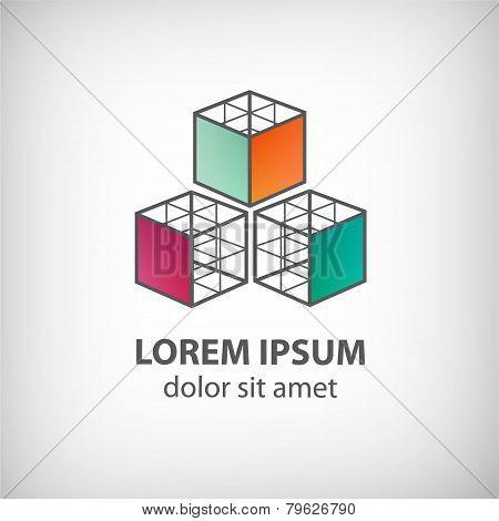 vector abstract cube construction made of 3 logo
