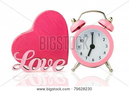 Pink Alarm Clock And  Heart Shape Gift Box