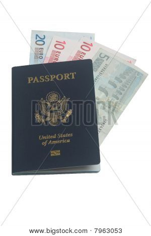 US passport with euros