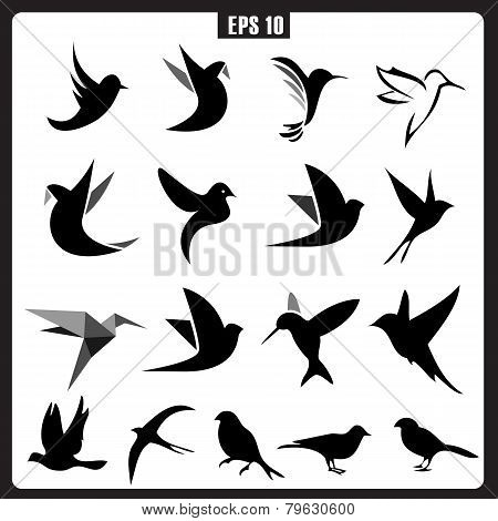 Vector Collection of Bird Silhouettes, icons for logo