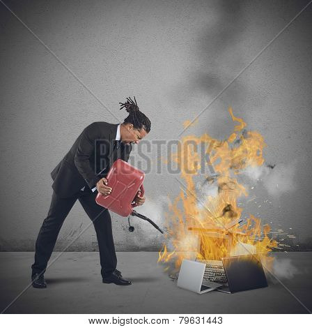 Businessman Burns Computers