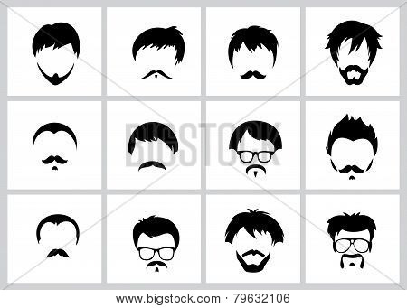 Hipster man face, mustache and glases vector illustration background