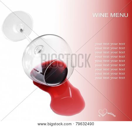 Overturned glass of wine and space for your text isolated on white