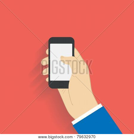 Business man holds holding black smartphone