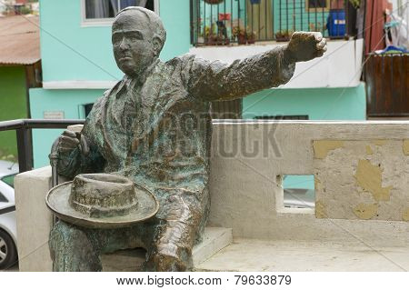Monument to the famous Chilean poet Pablo Neruda, Valparaiso, Chile.