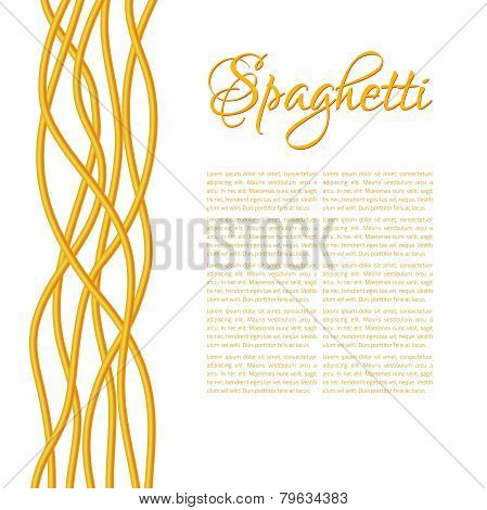 Realistic Twisted Spaghetti Pasta, vertical composition