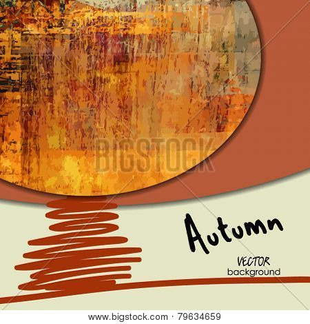 art abstract one tree, autumn  background; card with space for text