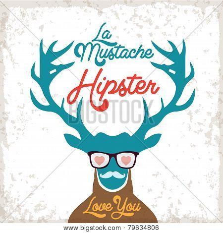 Illustration of Deer Hipster for Valentine's Day, Love