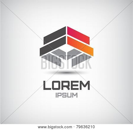 vector 3d abstract colorful geometric construction logo
