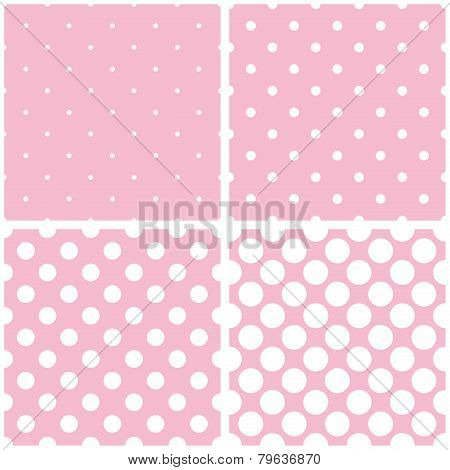 Tile vector pattern set with white polka dots on baby pink background