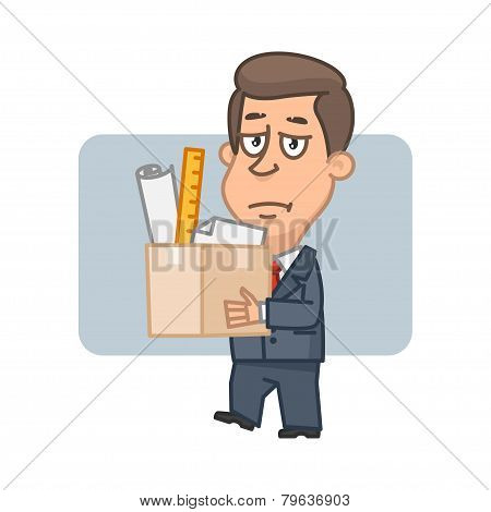 Character businessman holding box with things