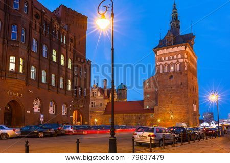 GDANSK, POLAND - DECEMBER 17, 2014: Building of medieval torture chamber in the old town of Gdansk, Poland. Torture chamber and prisoner tower was built in XIV century as a fortified barbican of city