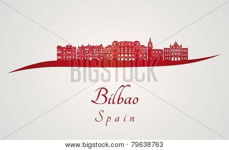 Bilbao Skyline In Red