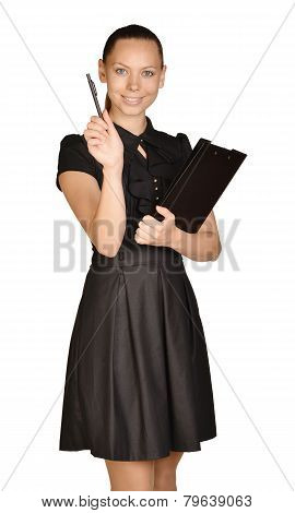 Business beautiful girl holding paper holder and a ballpoint pen.