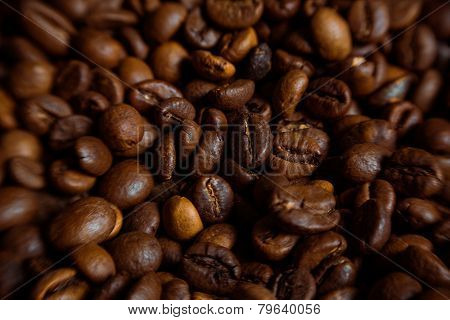 Coffee On Grunge Wooden Background Fresh Coffee Beans On Wood And Linen Bag, Ready To Brew Delicious
