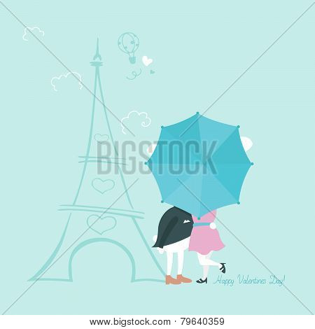 Bunnies behind umbrella