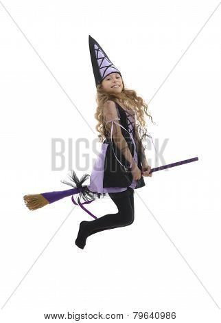 Happy Witch Girl Flying