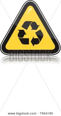 Yellow attention recycling sign