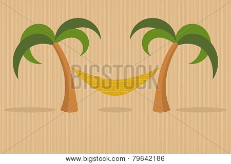 hammock hanging between two palm trees