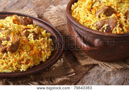 Pilaf With Meat And Vegetables Closeup Horizontal