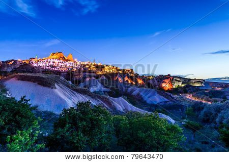 Uchisar castle during twilight, Cappadocia, Turkey
