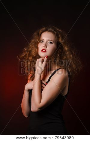 Mysterious Sexy Girl With Red Lips