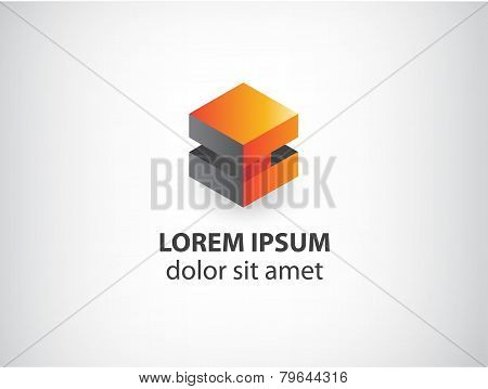 vector 3d orange and grey abstract cube logo