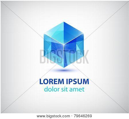vector abstract 3d cube construction logo