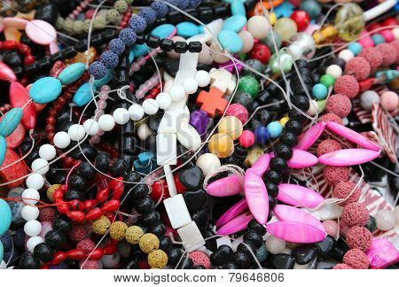 Colorful Necklaces With Colored Beads On Sale In The Market Stall