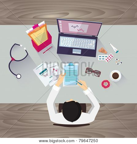 Doctor workplace, vector illustration. Male person in doctor's smock sitting at the table