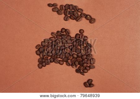Australia Map Made Of Coffee Beans