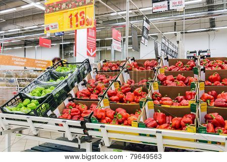 Fresh Vegetables Ready For Sale In Auchan Samara Store