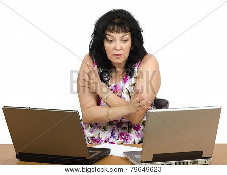 Mature Woman Getting Bad News On A Laptop