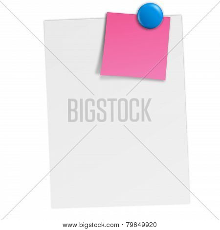White Paper With Notes And Magnet