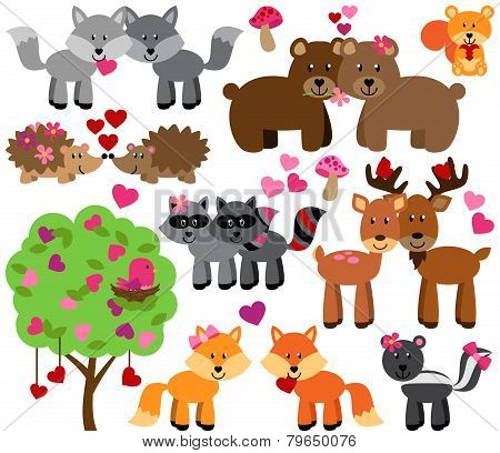 Vector Set of Valentine's Day or Love Themed Forest Animals