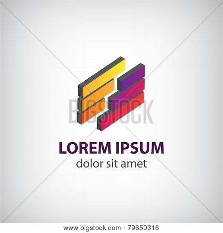 vector abstract 3d icon, logo isolated