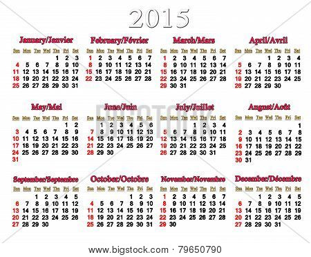 Usual Calendar For 2015 Year On The White